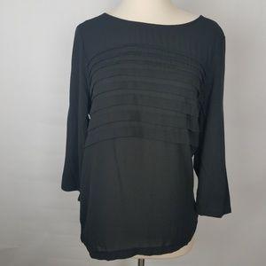 LOFT tiered horizontal pleated 3/4 sleeve blouse M